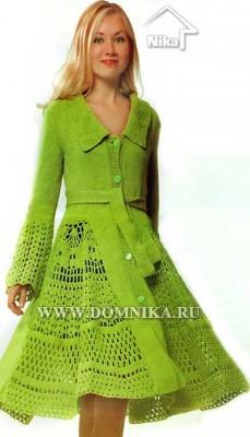Женское вязаное пальто с ажурными вставками