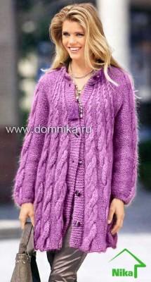Женское вязаное пальто с косами из мохера