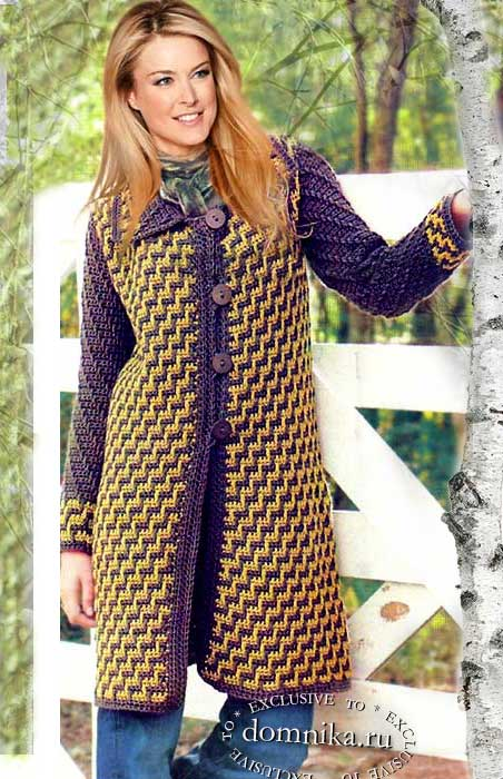 вязаное пальто крючком