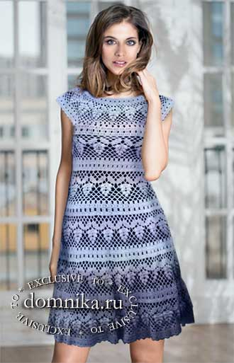 вязаное платье крючком виноград