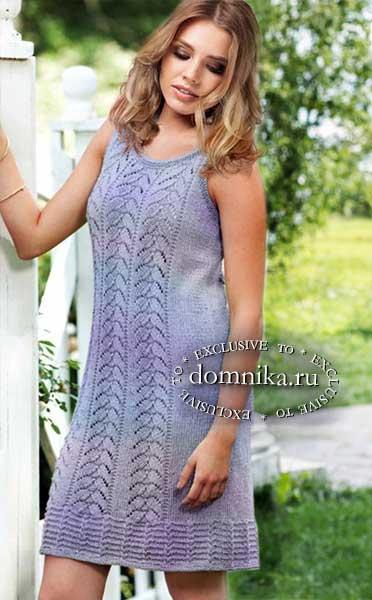 вязаное платье спицами для женщин на лето