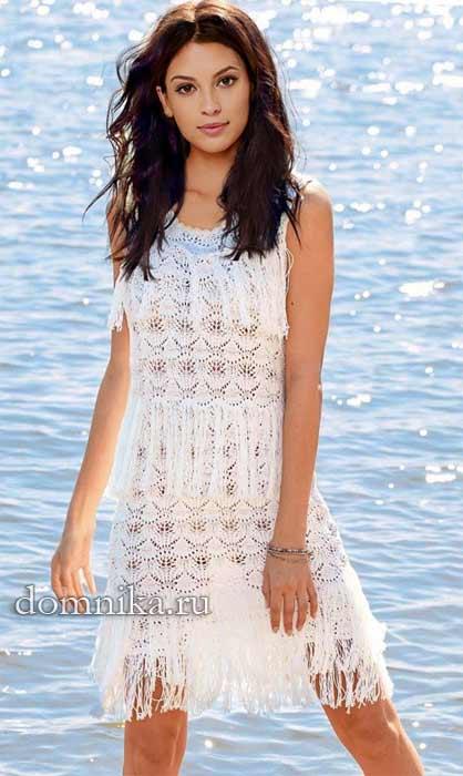 1fed6565131 beloe-azhurnoe-plate-spicami. Летнее ажурное платье связано спицами из  хлопка белого цвета. Красивое вязаное ...