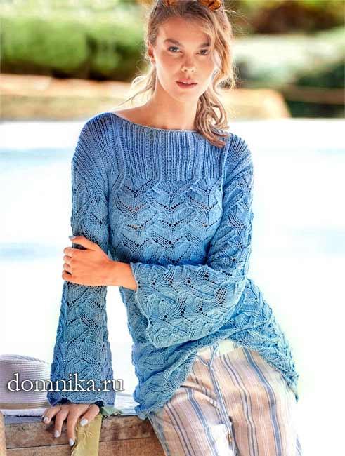 женский пуловер с ажурным узором