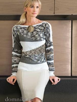элегантный женский пуловер спицами, фото