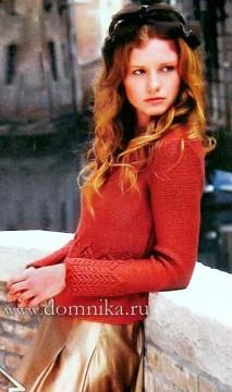 Женский пуловер спицами с описанием и схемами вязания