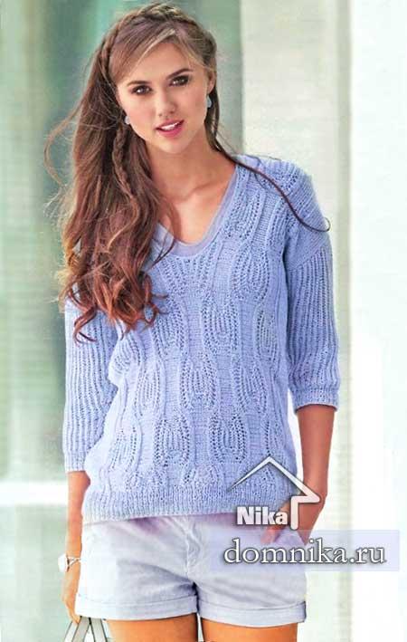 женский пуловер спицами на лето 2019 схемы вязания и описание