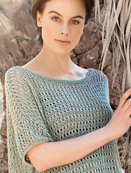 стильный вязаный пуловер спицами