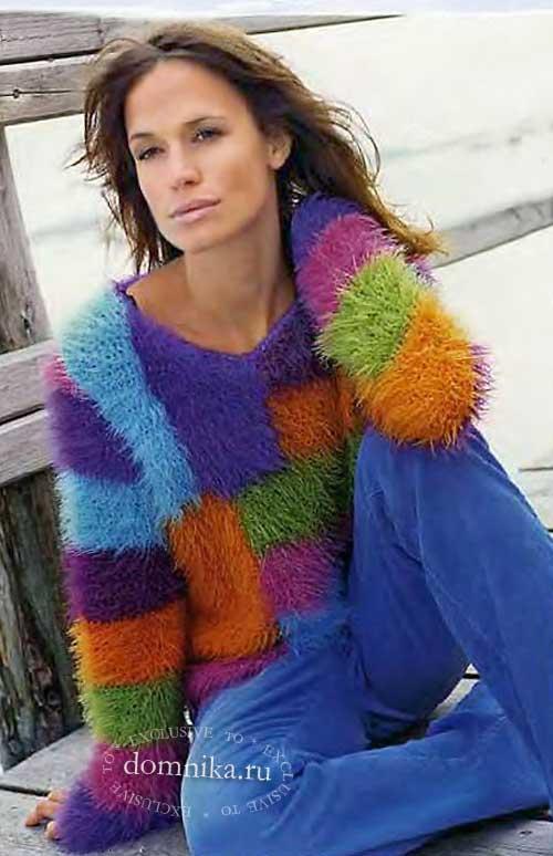 Женский пуловер в стиле пэчворк