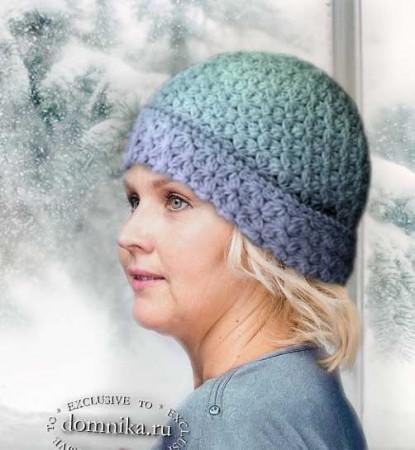 Зимняя шапка с отворотом для дам пожилого возраста после 60