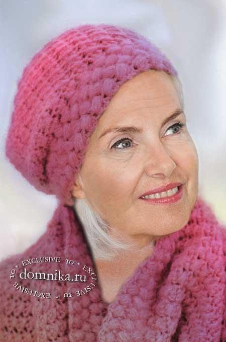 вязаные шапки для дам пожилого возраста старше 60 лет