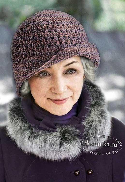 шапка крючком для женщин после 60 лет