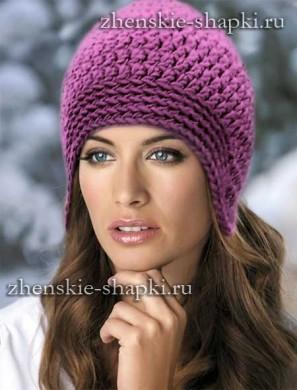 Вязание женской шапки с ушками на осень и зиму