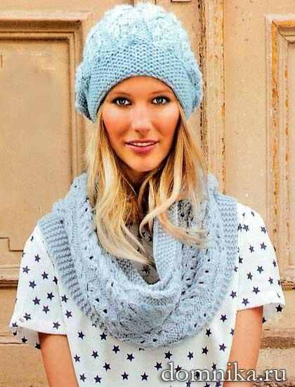 фото вязаный комплект: шапка и шарф