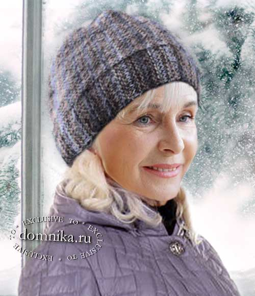 простая зимняя шапка для пожилых женщин схема вязания