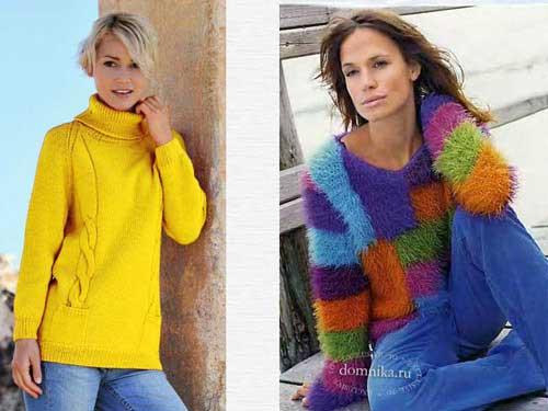 свитер связанный спицами