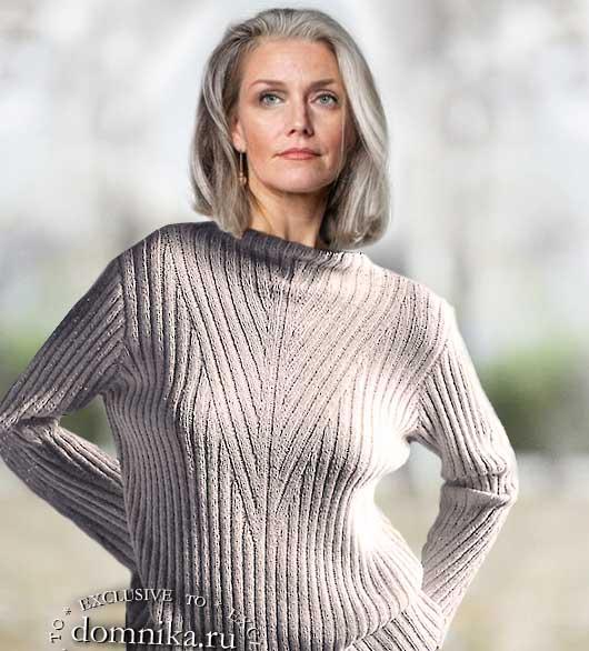 Модное вязание свитер для женщин старше 50 лет