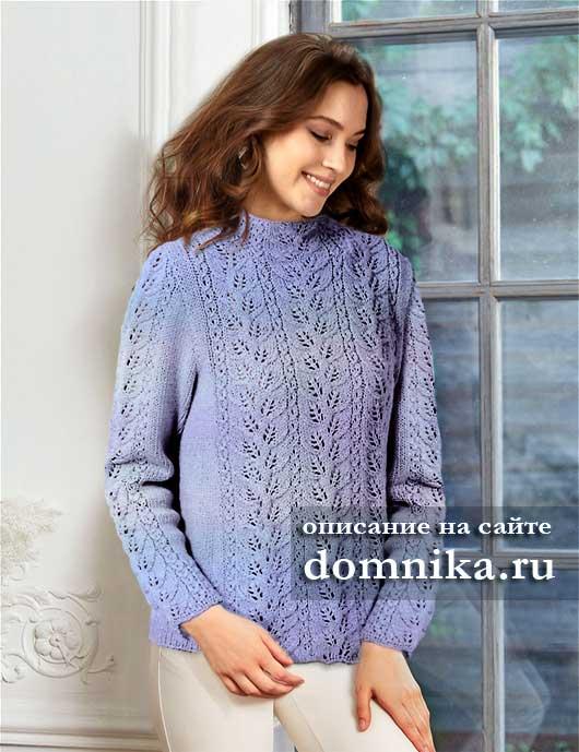 Схема модного свитера спицами для девушки