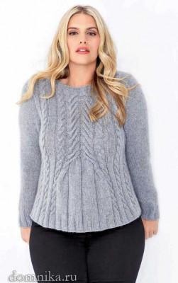фото вязаного свитера с косами