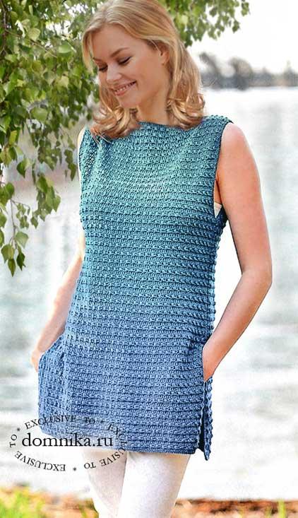 Ажурная туника спицами: схемы двух отличных летних вариантов для молодых женщин
