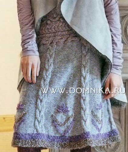 схема вязания детской юбки спицами.