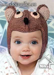 Детская шапочка мишка с ушками