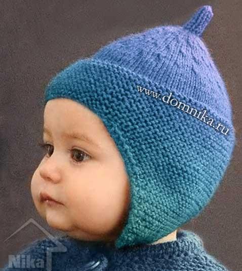 детские шапочки спицами 15 фото шапочки с ушками новорожденным