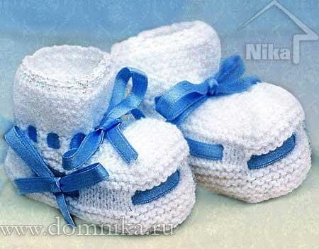 белые вязаные пинетки спицами для новорожденных