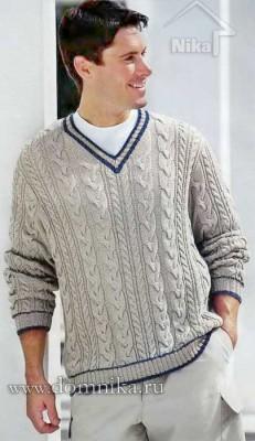 Вязаный пуловер с косами для мужчин
