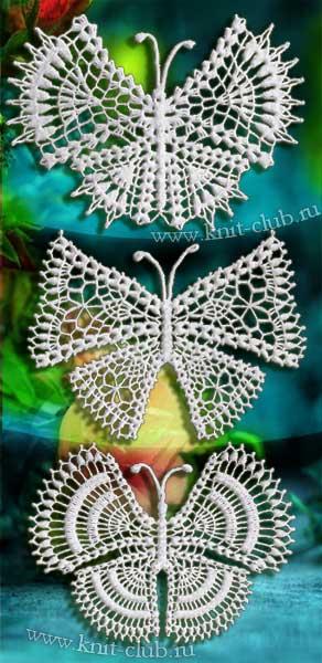 вязаные бабочки крючком схемы