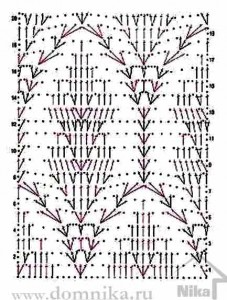 схема вязания крючком ажурного палантина