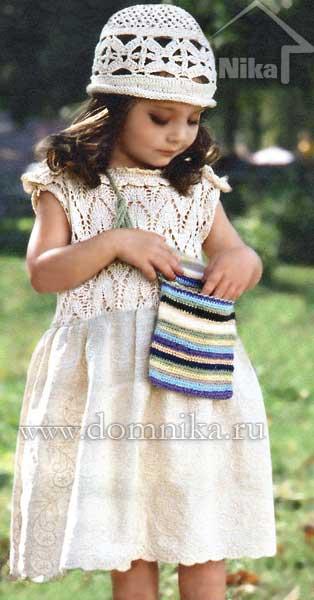 Вязаное детское платье и шапочка