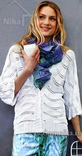 Вязание спицами белого жакета