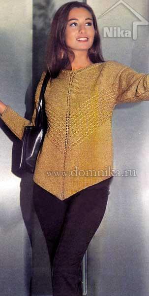 Элегантный пуловер с диагональными полосами