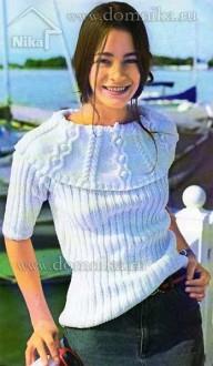 Белый пуловер в резинку