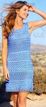 Голубое летнее платье со схемами
