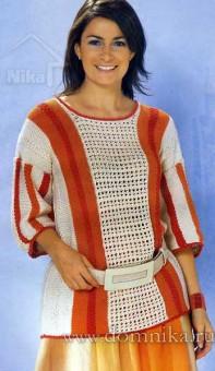 Стильный пуловер для полных спицами