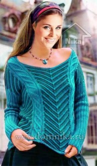 пуловер с косами и узором зигзаг