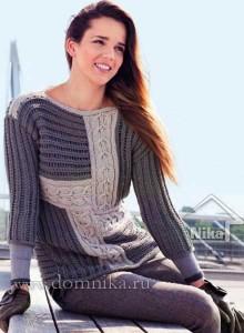Стильный вязаный пуловер пэчворк