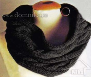 Вязаный спицами шарф-хомут со схемами