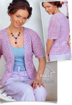 Вязание спицами ажурной кофты для женщин