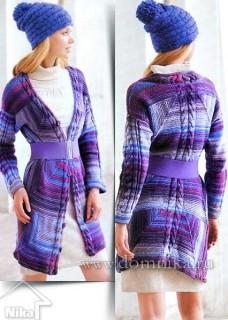 Вязаное пальто спицами в стиле пэчворк