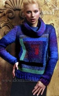 Вязаный женский свитер с квадратным мотивом