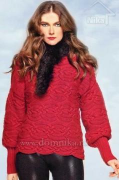 Вязаный женский свитер с поперечными косами