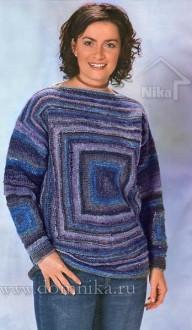 вяжем спицами пуловер для полных