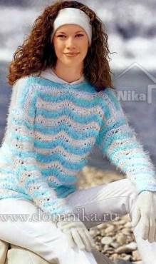 Женский вязаный пуловер спицами с описанием