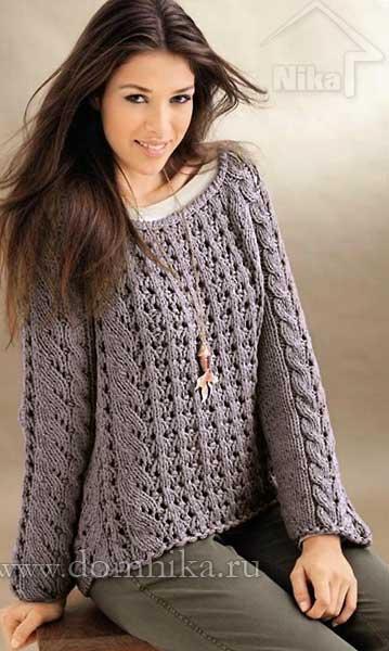 узорчатый пуловер вязание спицами