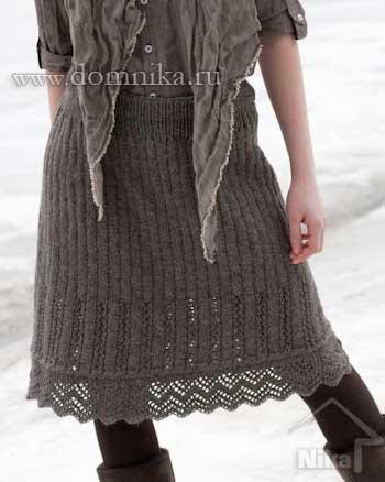 вязаные юбки спицами
