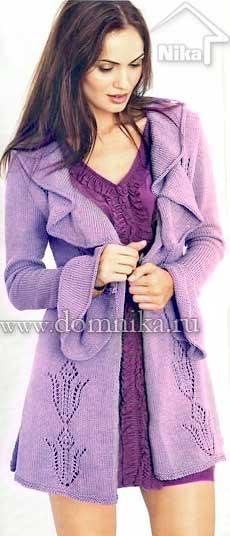Вязаное пальто с ажурным узором