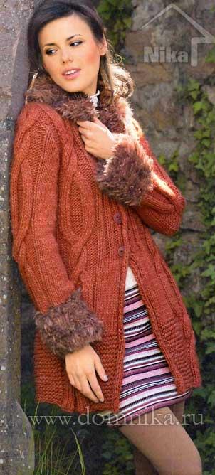Вязаное пальто спицами со схемами