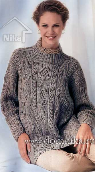 женский свитер из плюшевой пряжи спицами